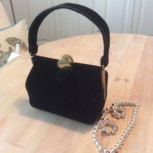 Vintage black velvet cocktail purse